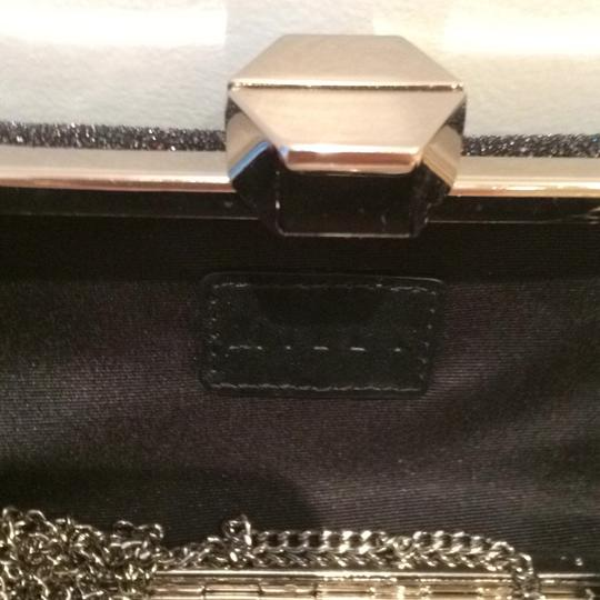 MILLY Sparkle Silver Chain Black Clutch Image 5