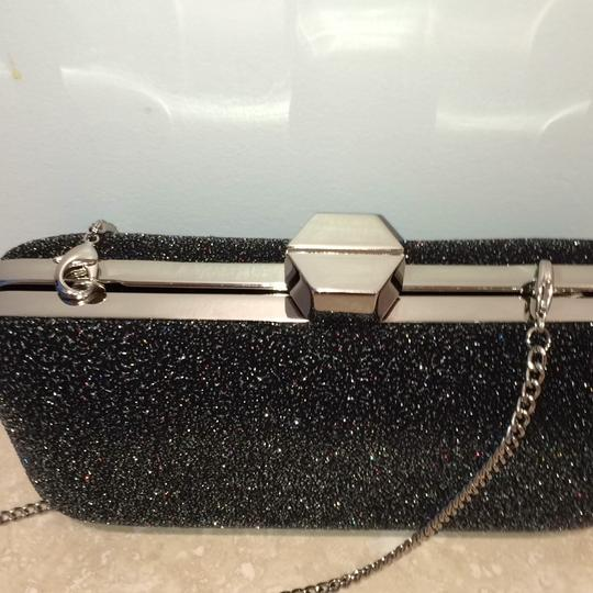 MILLY Sparkle Silver Chain Black Clutch Image 9