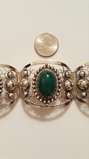 Mexican Sterling Green Onyx Cabochons Hinged Bracelet Green Onyx Cabochons Silver Hinged Bracelet Mexico
