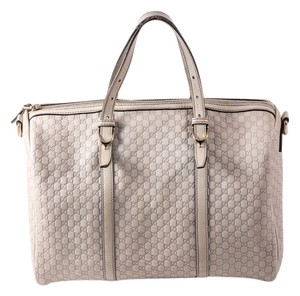Gucci Leather Monogram Satchel in off white