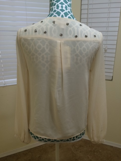 MM Couture Miss Shirt Beads Beaded Double Breasted Long Sleeve Chiffon Misses Ladies Women Designer Quality Value Sale Deal Top Ivory Cream