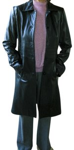 Preston & York Lamb Skin Black Leather Very Soft Small Womens Long Coat