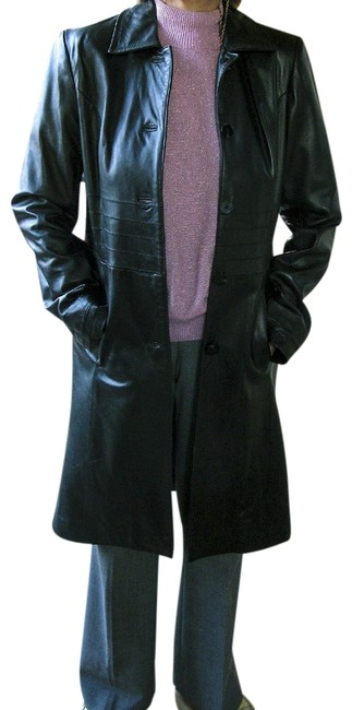 Item - Black Lamb Skin Leather Very Soft Small Womens Long Coat Pant Suit Size 6 (S)