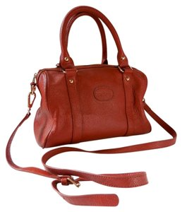 Terzetto Structured Crossbody Shoulder Satchel in Cognac