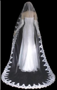 Royal Length Beaded Lace Wedding Veil In Ivory
