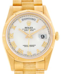 Rolex Rolex President Mens 18k Yellow Gold Bark Finish White Dial Watch 18248