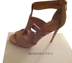 Modern Vice Neutral and Red Sandals