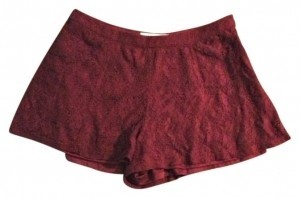 Forever 21 Burgundy Crochet Lace Tap Mini/Short Shorts Red