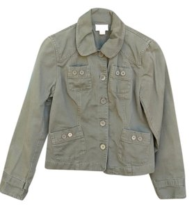 Ann Taylor LOFT Cropped Green Womens Jean Jacket