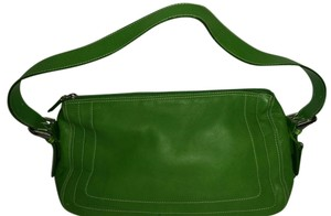 Rolfs Leather Silver Hardware Satchel in Green