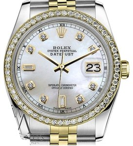 Rolex Ladies Rolex 31mm Datejust Tone White Mop Mother Of Pearl Dial Diamond Accent
