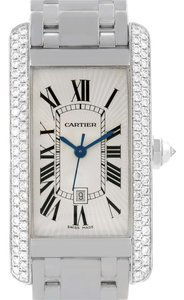 Cartier Cartier Tank Americaine Midsize 18K White Gold Diamond Watch 2490