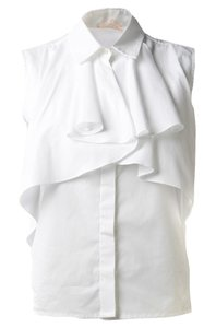 Giambattista Valli Cotton Ruffle Sleeveless Top white