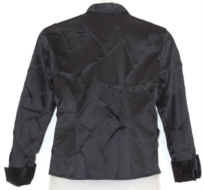 Samuel Dong Creased Pleated Satin Top Black