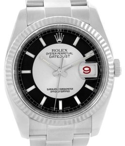 Rolex Rolex Datejust Steel White Gold Silver Black Tuxedo Dial Watch 116234