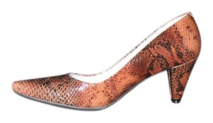 MARC JOSEPH Leather Snakeskin Print Comfortable SNAKESKIN BROWN Pumps