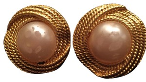 Chanel Chanel Faux Gold And Pearl Clip On Earrings