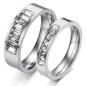 Silver Reduced 2pc Matching Titanium Steel Free Shipping Men's Wedding Band