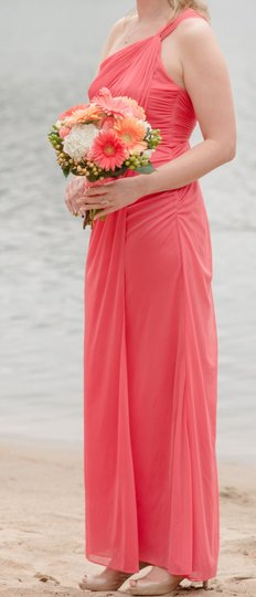 Adrianna Papell Coral Layered Polyester Ap Feminine Bridesmaid/Mob Dress Size 8 (M)