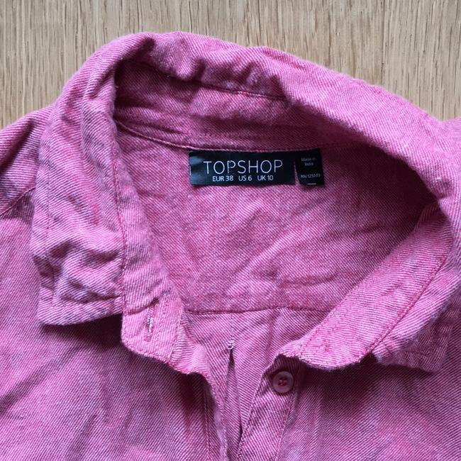 Topshop Button Down Shirt Red Image 1