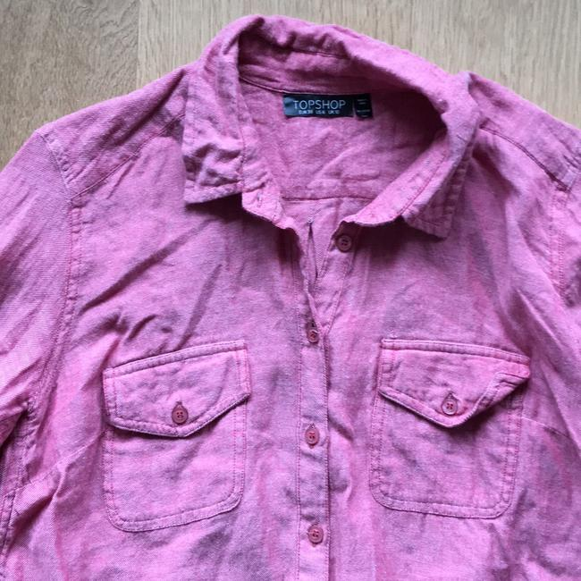 Topshop Button Down Shirt Red Image 3