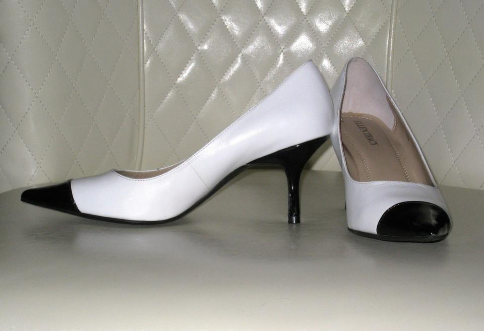 9d76767d950d Ellen Tracy Classy Heels Fall Winter White with Black Toe Tips Pumps Image  5. 123456
