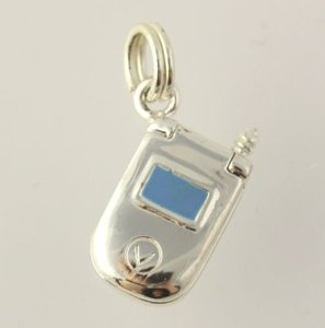 Cell Phone Charm - Sterling Silver 925 Enamel Flip Phone Womens Fashion