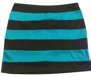 Forever 21 Color-blocking Mini Skirt Black/Blue