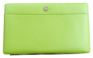 Abas Abas Neon Green Large Open Full Face Wallet Clutch Organizer