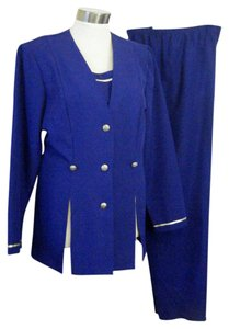 WILLOW RIDGE PANTSUIT 20 TALL 20T PLUS NWOT WILLOW RIDGE UNLINED CAREER BLUE W GOLD BRAID