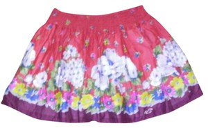 Hollister Red Floral Multicolored Skirt Red Multicolored