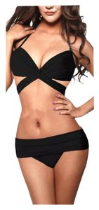 New Black Wrap Bikini Sexy Bathing Suit Sz Large (Please see size info for fit)