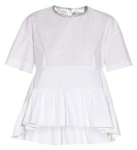 Marni Cotton Peplum Short Sleeves Loose Fit Top white