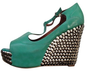 Jeffrey Campbell Studded Bright Green Wedges