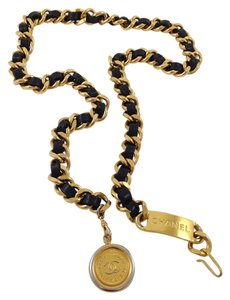 Chanel Rare Gold Plated Chanel Black Leather/ Chain Belt