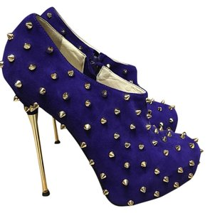 Brian Atwood Spike Studded Bootie Boot Purple Boots