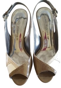 Marc Fisher Brown, Taupe, White Platforms