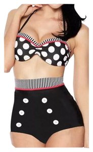 Other New Black & White Retro 2pc Bikini Bathing Suit Sz Medium (Please see size info for fit; Fits US Small best)