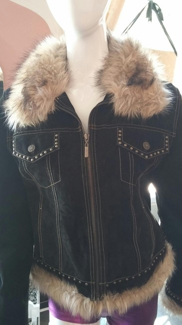 Giacca Suede Studded Faux Fur Leather Jacket