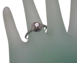 Estate 18K White Gold Old Cut Solitaire .80carats Diamond Ring