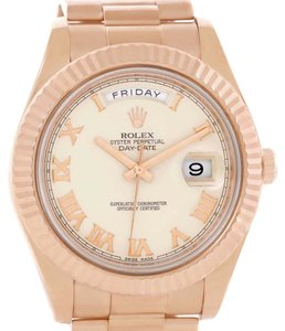 Rolex Rolex Day-Date II Everose Ivory Dial Mens 18K Rose Gold Watch 218235