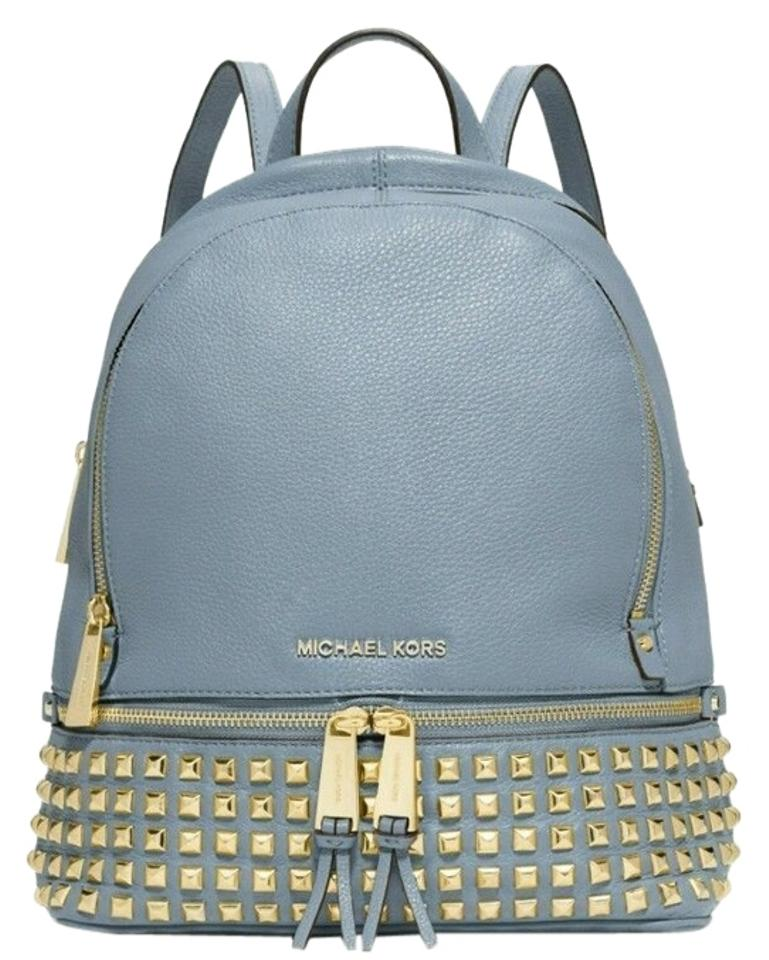 76181f0d628d9 Michael Kors Rhea Small Studded Pale Blue Leather Backpack - Tradesy