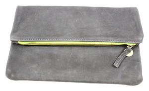 Clare Vivier Penny Lane grey and neon green Clutch