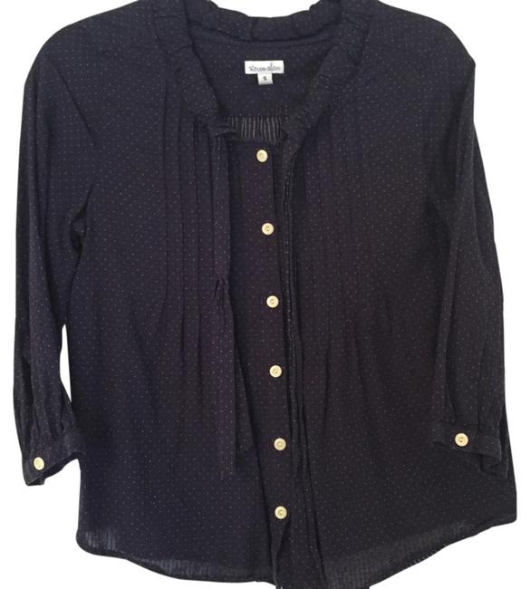 Item - Navy and White Mini Polka Dot Pintuck Tie Collar Blouse Size 4 (S)