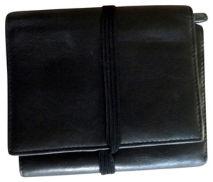 Hobo International Hobo International Trifold Black Leather Wallet Elastic Strap