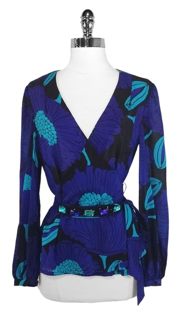 Trina Turk Silk Top Blue