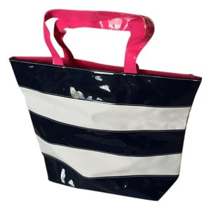 & Other Stories Navy/white Hot Pink Trim New Patent Tote in Blue/White