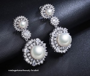 Gorgeous Bridal Cz Pearl Drop Earrings