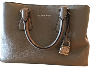 Michael Kors Leather Monogram Satchel in Ballet