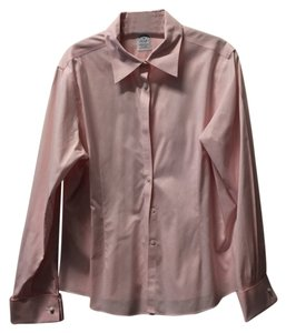 Brooks Brothers Blouse Dress Shirt Fitted Work Non-iron Button Down Shirt Pink